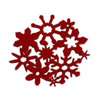 """Filz-Untersetzer """"Schneekristall"""", rot"""