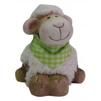 Schaf aus Ton mit Kunstfell grün
