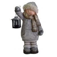 Winterkind mit Laterne Bub