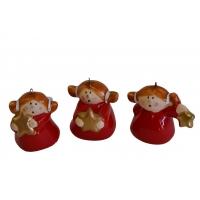 Engel-Anhänger Keramik 3-er Set  rot