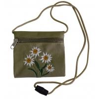 Brustbeutel mit Blumen-Stickung, oliv